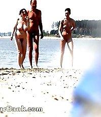 Trio of mature nudists filmed by a sneaky voyeur